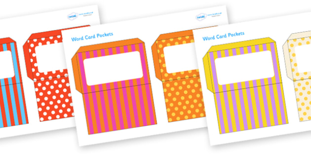 Editable Patterned Word Card Pockets - word card pockets, envelopes, word card envelopes, patterned envelopes, editable patterned envelopes, paper pockets