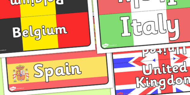 European Flags Class Table Group Signs - European Flags Class Group Signs, Europe, European, flags, countries, country, EU, group signs, group labels, group table signs, table sign, teaching groups, class group, class groups, table label