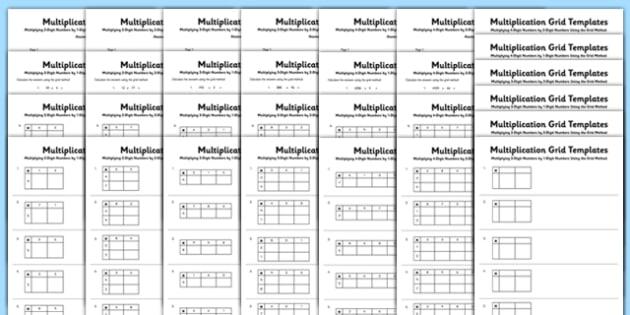 Multiplication Grid Activity Sheet Bumper Pack - Multiplication, grid method, KS2, key, stage, 2, upper, maths, multiply, formal, written, method, worksheet