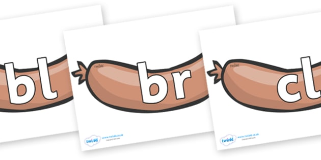 Initial Letter Blends on Sausages to Support Teaching on The Very Hungry Caterpillar - Initial Letters, initial letter, letter blend, letter blends, consonant, consonants, digraph, trigraph, literacy, alphabet, letters, foundation stage literacy