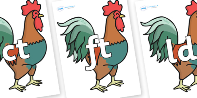 Final Letter Blends on Rooster - Final Letters, final letter, letter blend, letter blends, consonant, consonants, digraph, trigraph, literacy, alphabet, letters, foundation stage literacy