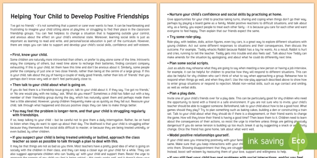 Helping Your Child to Develop Positive Friendships Parent and Carer Information Sheet - primary, secondary, child, wellbeing, questions, friendships, social, teenager, talking