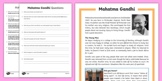Gandhi Differentiated Reading Comprehension Activity