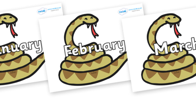 Months of the Year on Snakes - Months of the Year, Months poster, Months display, display, poster, frieze, Months, month, January, February, March, April, May, June, July, August, September