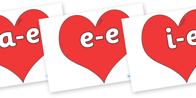 Split Digraphs on Hearts (Plain) - Modifying E, letters, modify, Phase 5, Phase five, alternative spellings for phonemes, DfES letters and Sounds