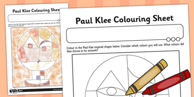Paul Klee Colouring Sheet - Paul, Klee, Colour, Colouring, Art