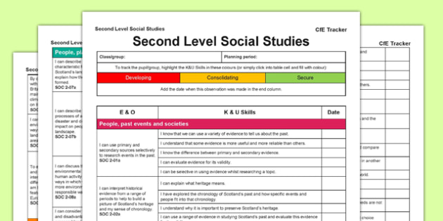 Social Studies CfE Second Level Tracker - CfE, planning, tracking, history, geography, I can, Second Level