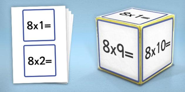 Giant Foam Dice Squares 8 Times Tables - foam dice, squares, 7