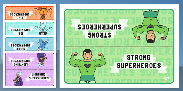 Editable Class Group Table Signs (Superhero) - Superhero, group signs, group labels, group table signs, table sign, teaching groups, class group, class groups, table label, Superhero, superheroes, hero, batman, superman, spiderman, special, power, po