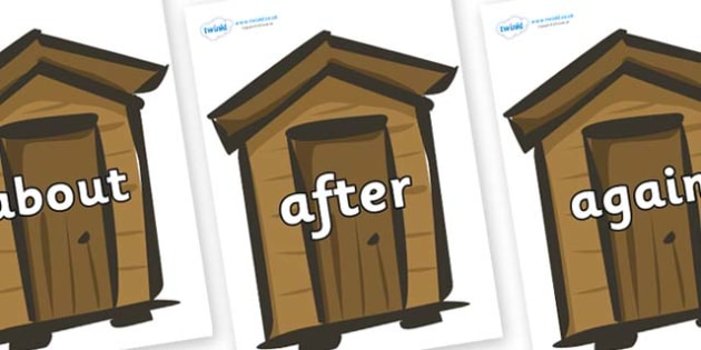 KS1 Keywords on Sheds - KS1, CLL, Communication language and literacy, Display, Key words, high frequency words, foundation stage literacy, DfES Letters and Sounds, Letters and Sounds, spelling