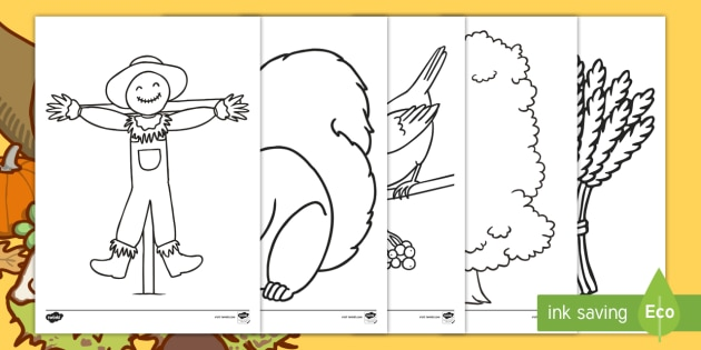 Extra Large Autumn Colouring Pages - activities, september, seasons, KS1, EYFS