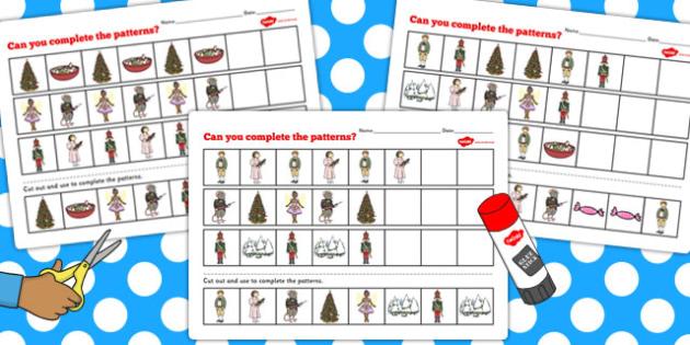 The Nutcracker Complete the Pattern Worksheets - nutcracker