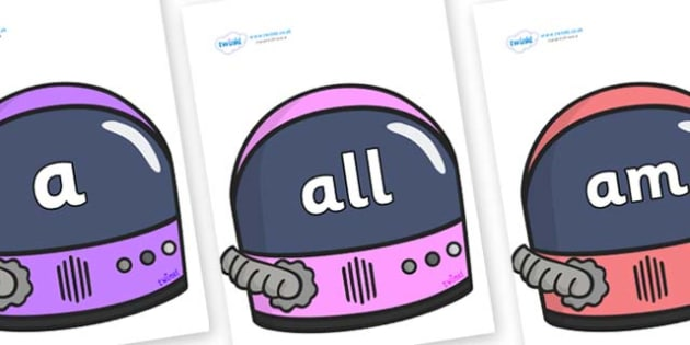 Foundation Stage 2 Keywords on Astronaut Helmet - FS2, CLL, keywords, Communication language and literacy,  Display, Key words, high frequency words, foundation stage literacy, DfES Letters and Sounds, Letters and Sounds, spelling