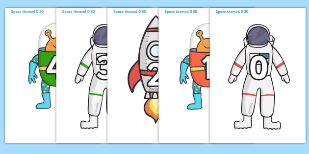Numbers 0-30 on Space Images - Space, Foundation Numeracy, Number recognition, Number flashcards, counting, space, ship, rocket, alien, launch, moon, stars, planet, planets