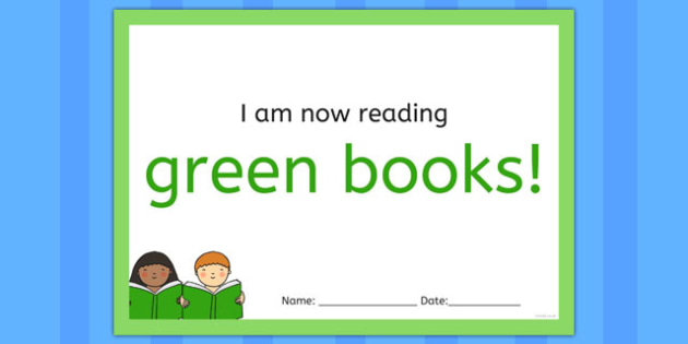 I'm Now Reading Green Books Certificate - certificate, coloured, reading, book