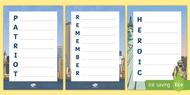 September 11th Acrostic Poem - September 11, Patriot Day, Acrostic Poem, US History, Heroes, Heroic