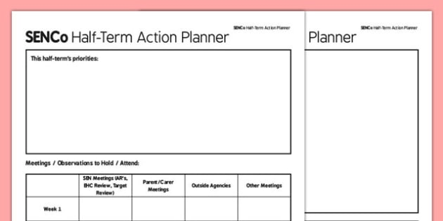 SENCo Half Term Action Planner - senco, action planner, action, planner, plan, half term