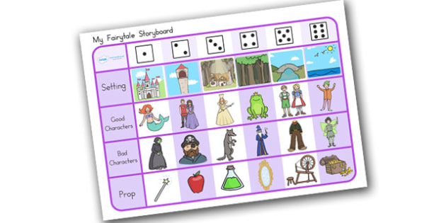 Fairytale Story Telling Prompt Dice Game - fairytale, story, game