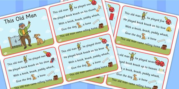 This Old Man Nursery Rhyme Cards - Rhymes, Card, Visual, Visuals
