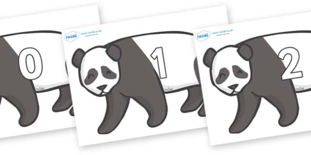 Numbers 0-50 on Pandas - 0-50, foundation stage numeracy, Number recognition, Number flashcards, counting, number frieze, Display numbers, number posters