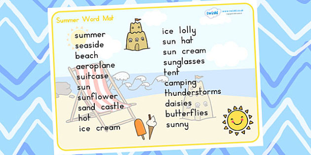 Summer Word Mat Text - summer, seasons, word mat, keywords, words