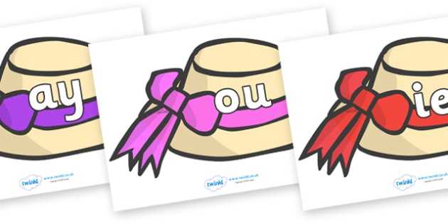 Phase 5 Phonemes on Summer Hats - Phonemes, phoneme, Phase 5, Phase five, Foundation, Literacy, Letters and Sounds, DfES, display