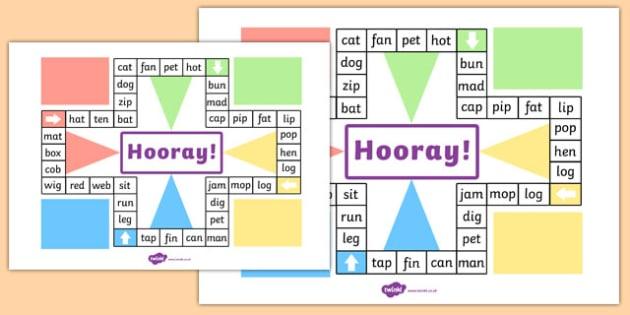 CVC Words Ludo Board Game - CVC, CVC words, word games, games