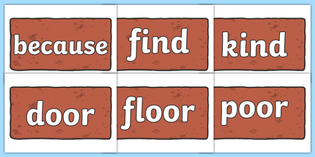 Year 2 Common Exception Words on Brown Bricks - year 2, common exception words, brown bricks, display