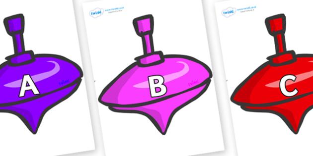 A-Z Alphabet on Spinning Tops - A-Z, A4, display, Alphabet frieze, Display letters, Letter posters, A-Z letters, Alphabet flashcards
