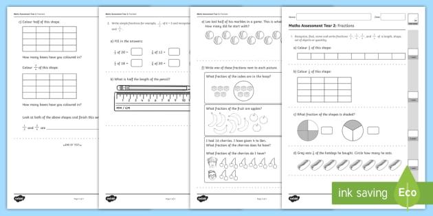 Year 2 Maths Assessment: Fractions Term 1 - fraction, assessments, maths, year 2, term 1