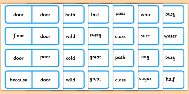 Year 2 Common Exception Words Dominoes - year 2, common exception words, dominoes, game, activity