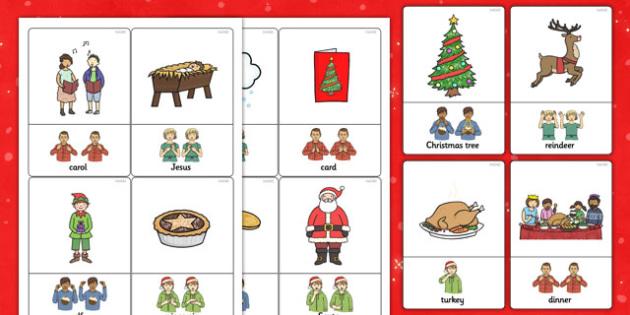 British Sign Language Christmas Sign Flash Cards - flashcards