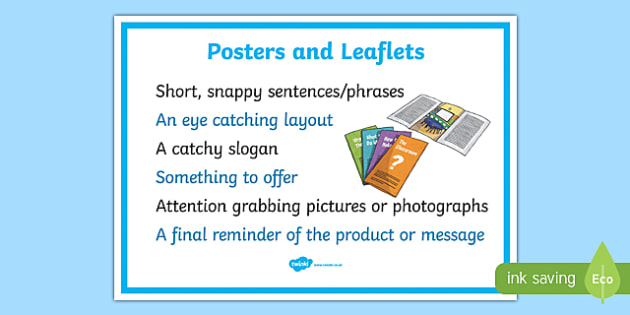 Posters And Leaflets Display Poster - posters and leaflets, posters and leaflets need, posters, leaflets, ks2 literacy, poster checklist, leaflet checklist