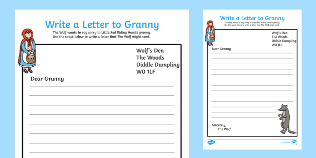Letter to Granny From the Wolf Little Red Riding Hood Writing Frame - english, traditional tales, early years, ks1, key stage 1, formal, display