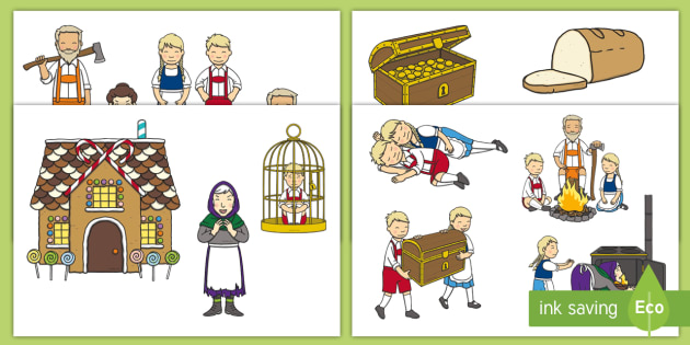 Hansel and Gretel Story Cut Outs - Hansel and Gretel, Brothers Grimm, witch, Hansel, Gretel, gingerbread house, fairytale, traditional tale, woodcutter, forest, story, story sequencing, story resources, cut outs