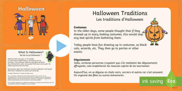 Halloween PowerPoint English/French  -  halloween, pumpkin, October, celebration, festival, EAL French,French-translation