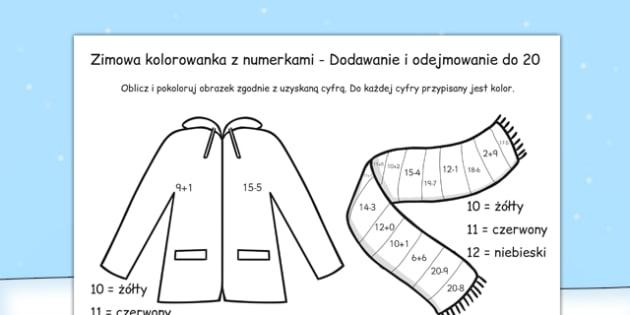 Arkusz Dodawanie i odejmowanie do 20 po polsku Zima - liczby