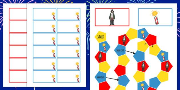 Bonfire Night Themed Editable Board Game - games, fireworks