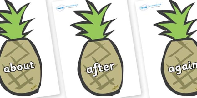 KS1 Keywords on Pineapples - KS1, CLL, Communication language and literacy, Display, Key words, high frequency words, foundation stage literacy, DfES Letters and Sounds, Letters and Sounds, spelling