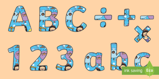 Maths Display Lettering - numbers, letters, numeracy, display, title, cut out, capital, lowercase, uppercase, ks1, ks2, key stage, colourful, topic