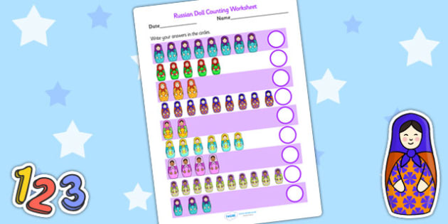 Russian Doll Counting Activity Sheet - russian doll, count, maths