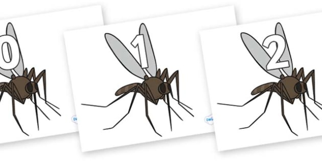 Numbers 0-100 on Mosquitos - 0-100, foundation stage numeracy, Number recognition, Number flashcards, counting, number frieze, Display numbers, number posters