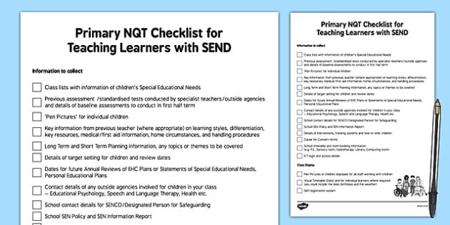 Primary NQT Checklist SEND - primary, nqt, checklist, send, support