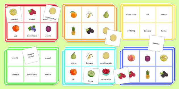 Gaeilge - Bia: Bingó, Torthaí - gaeilge, irish, bia, food, bingo, game, activity, fruit, vocabulary