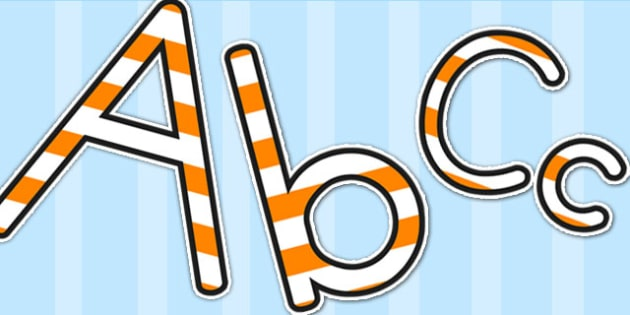 Stripey Orange Display Lettering - lettering, letters, display