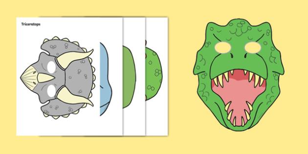 Dinosaurs Role Play Masks - Dinosaur, Role Play, mask, history, t-rex, stegosaurus, raptor, iguanodon, tyrannasaurus rex