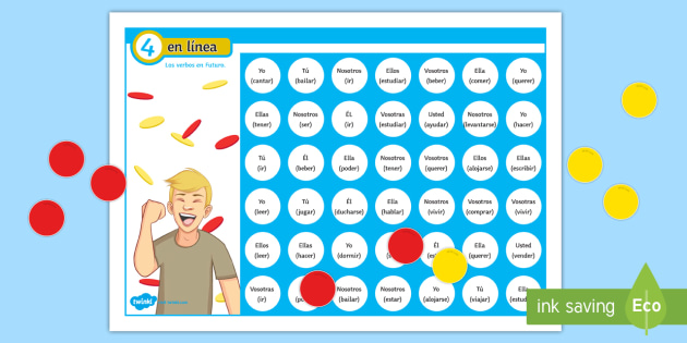 Four in a Row Future Tense Self Checking Board Game - Spanish - Spanish Grammar, 4 in row, 4 en raya, board game, verbs, conjugation, future tense