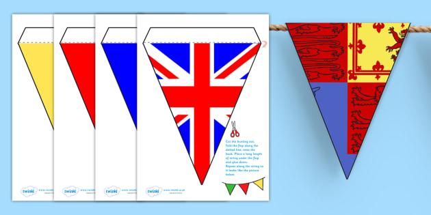 Display Bunting (British) - Bunting, display bunting, classroom bunting, decorative bunting, union jack, Royal Standard, Royal wedding, Britain, British