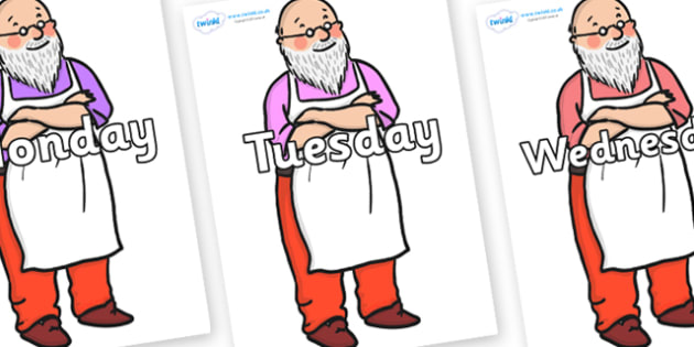 Days of the Week on Mr Clause to Support Teaching on The Jolly Christmas Postman - Days of the Week, Weeks poster, week, display, poster, frieze, Days, Day, Monday, Tuesday, Wednesday, Thursday, Friday, Saturday, Sunday