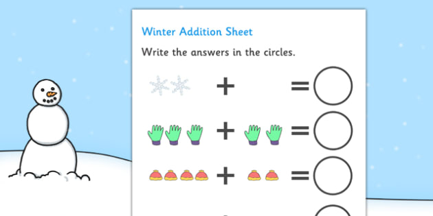 My Counting Worksheet (Winter) - education, home school, free